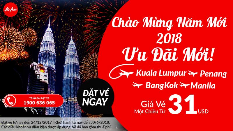 Air Asia KM vé bay châu Á chỉ từ 31 USD