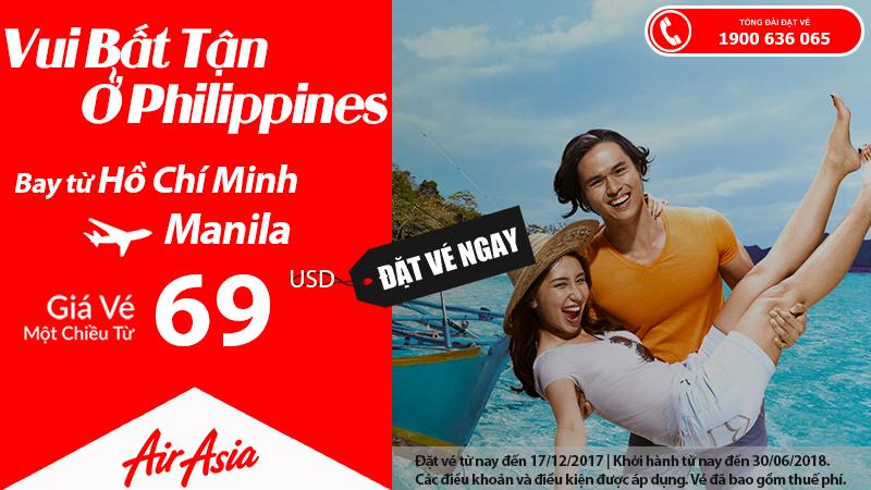 Rung rinh vé Air Asia từ Hồ Chí Minh đi Manila chỉ từ 69 USD siêu tiết kiệm