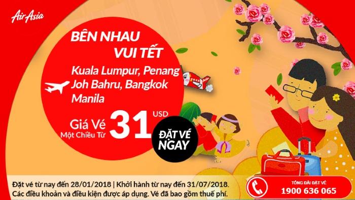 Cùng với Air Asia bay đến 3 nước Đông Nam Á với vé máy bay gia rẻ chỉ từ 31 USD