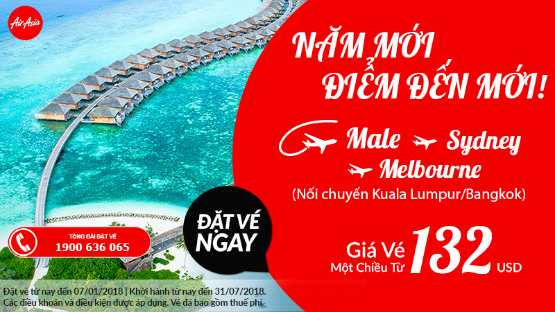 Chỉ từ 132 USD tận hưởng kì nghỉ ở Úc hoặc Maldvies cùng Air Asia!