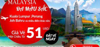 Đầu năm 2018, Air Asia mở bán vé một chiều đi Malaysia chỉ từ 51 USD