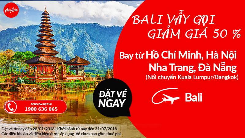 Siêu khuyến mại – Giảm đến 50% giá vé từ Air Asia khi đặt vé máy bay đi Bali