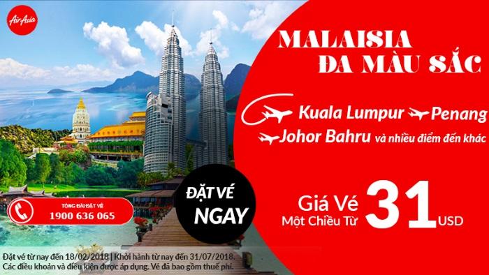Thư giãn tại Malaysia đa sắc màu với giá vé máy bay chỉ từ 31 USD cùng Air Asia