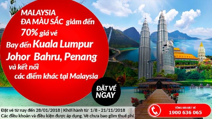 Cuối năm du lịch Malaysia cùng Air Asia với vé máy bay giảm đến 70%