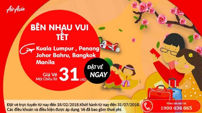 Cùng Air Asia bên nhau vui tết 2018 đón lộc đầu năm với vé máy bay giá rẻ chỉ từ 31 USD