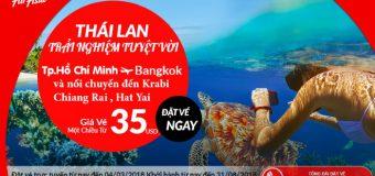 Bay thẳng từ Hồ Chí Minh đến Thái Lan trải nghiệm điều tuyệt vời với vé bay chỉ từ 35 USD cùng Air Asia