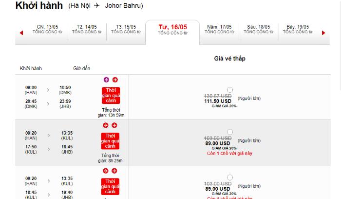 Hành trình bay từ Hà Nội đi Malaysia