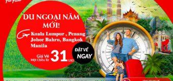 Du ngoại năm mới đón lộc đầu xuân tại Châu Á cũng Air Asia khi vé bay chỉ từ 31 USD