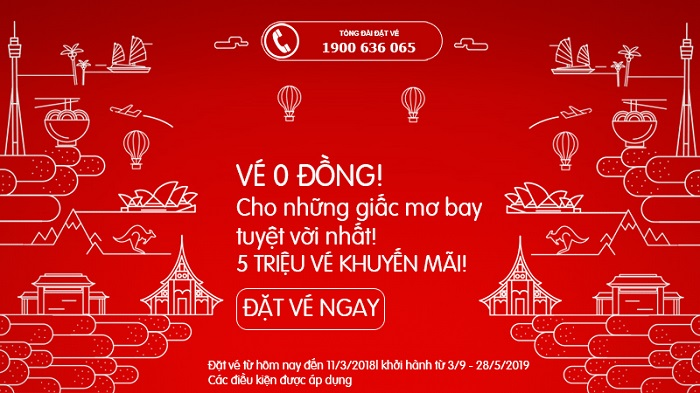 """Hot: khuyến mãi """"vàng"""" với 5 triệu vé bay 0 đồng của Air Asia cho những giấc bay xa"""