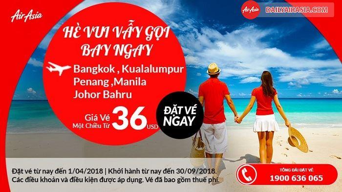 Air Asia KM giá vé máy bay chỉ từ 36 USD