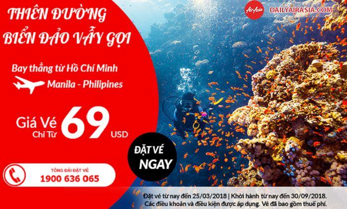 Air Asia khuyến mãi vé bay đi Manila chỉ từ 69 USD