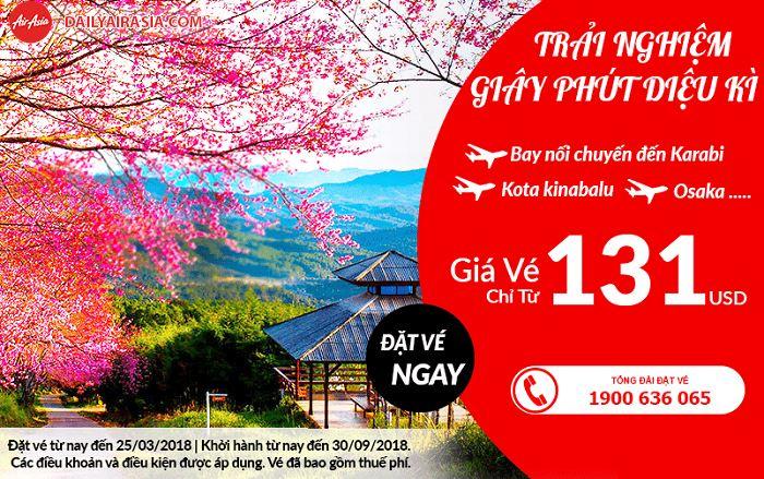Air Asia khuyến mãi vé bay chỉ từ 131 USD
