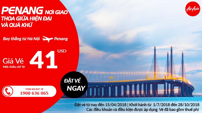 Bay thẳng Hà Nội – Penang giá chỉ từ 41 USD của Air Asia