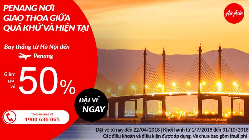 Du lịch hè Penang dễ dàng từ Hà Nội, vé Air Asia siêu giảm 50%