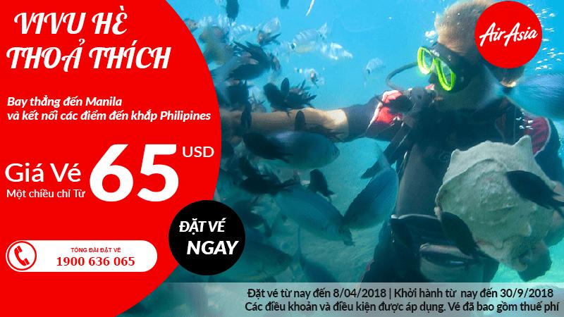 Tận hưởng mùa hè Manila với ưu đãi vé Air Asia chỉ từ 65 USD