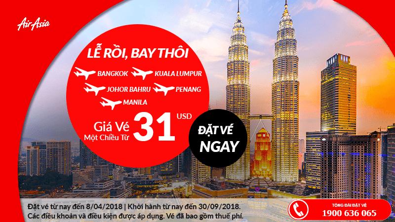 Lên lịch chu du Đông Nam Á với Air Asia giá chỉ từ 31 USD