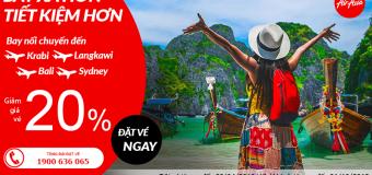Bay muôn nơi với vé Air Asia rẻ tung trời giảm tới 20%