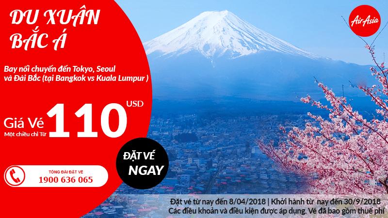 Chỉ từ 110 USD dễ dàng bay Bắc Á với ưu đãi tuần mới của Air Asia