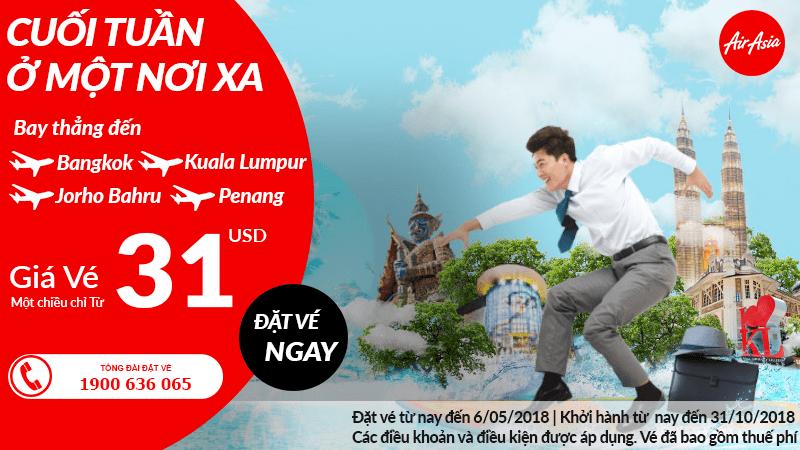 Vé Air Asia khuyến mại chỉ từ 31 USD/chiều