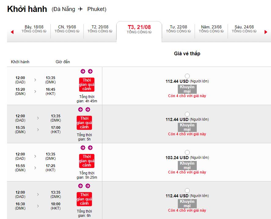 Vé máy bay Đà Nẵng đi Phuket khuyến mại