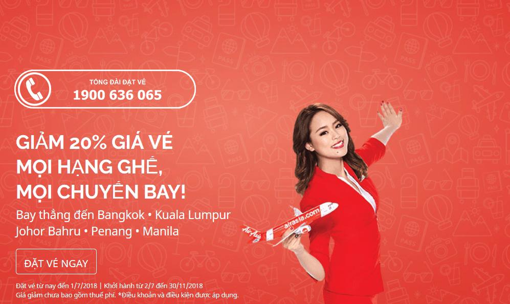 Giảm giá vé 20% mọi hạng ghế mọi chuyến bay – Cùng Air Asia du lịch hè tiết kiệm hơn!