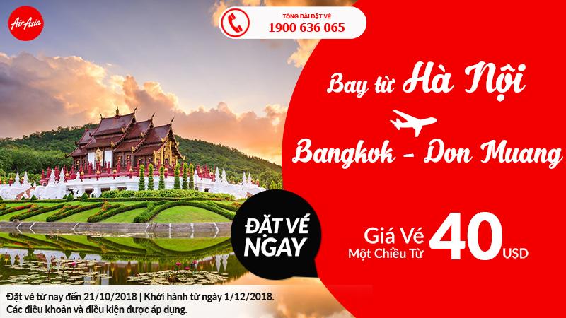 Khuyến mại Hà Nội – Bangkok – Don Muang giá chỉ từ 40USD
