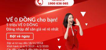 Khuyến mãi cực lớn: 5 triệu vé 0 đồng cho khách hàng của Air Asia