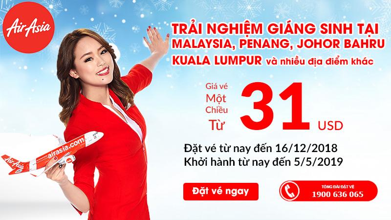 Chỉ với 31 USD, vi vu mùa giáng sinh cùng Air Asia