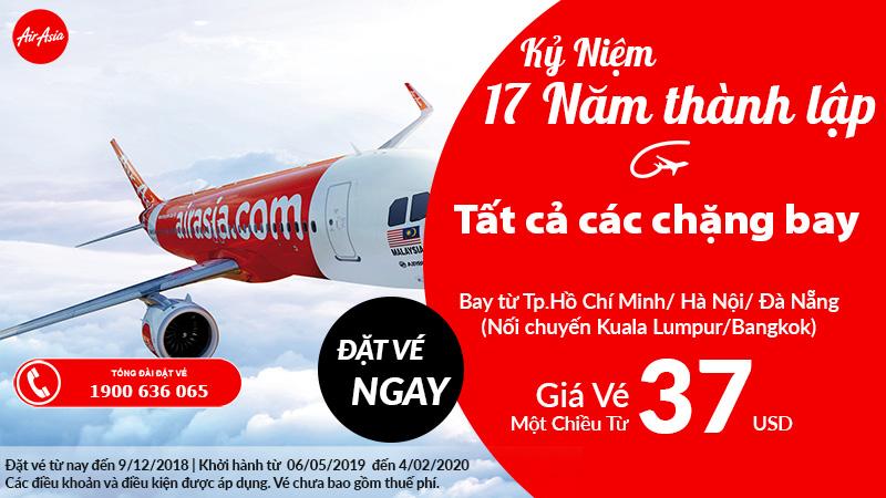 Ưu đãi lớn của Air Asia nhân dịp kỉ niệm 17 năm thành lập